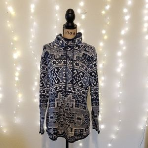 Chaps Blue Aztec Inspired Cowl Neck Sweater Sz 2X